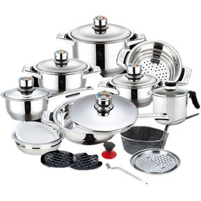Bateria de cocina en acero inoxidable 23 piezas Articulos de cocina de acero inoxidable